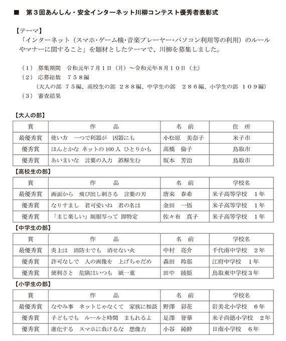 第53回青少年育成鳥取県民大会の報告